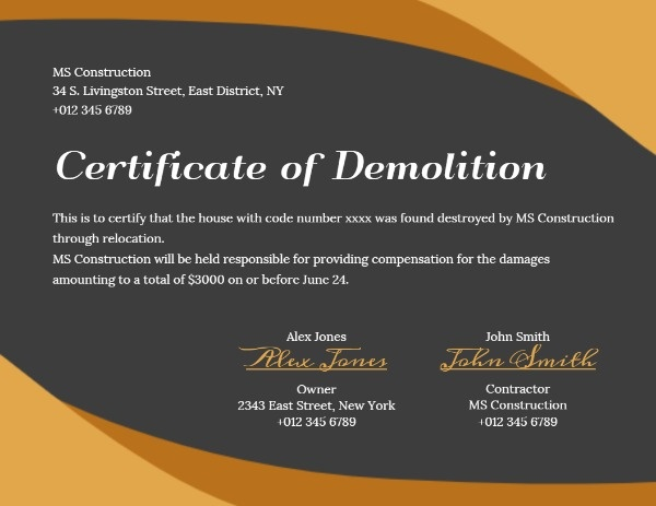 Demolition Certificate