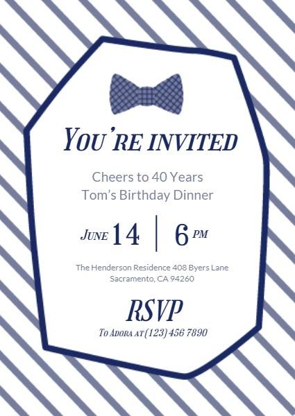 White And Black Suit Tie Birthday Invitation