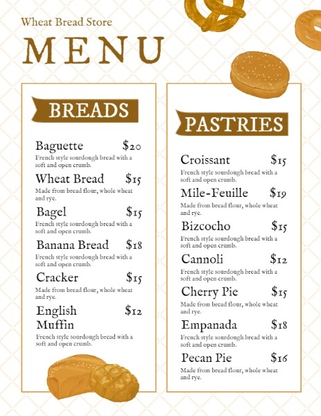 White Bakery Menu