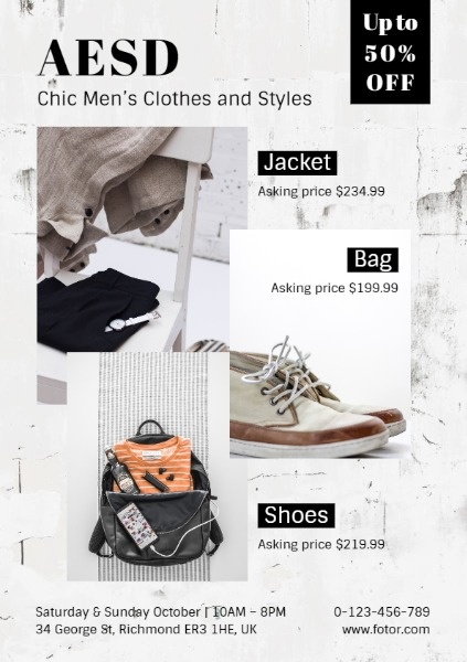 Simple Men Fashion Clothes Store Sale