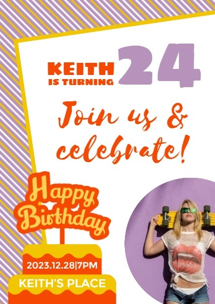 Purple And Yellow Birthday Invitation