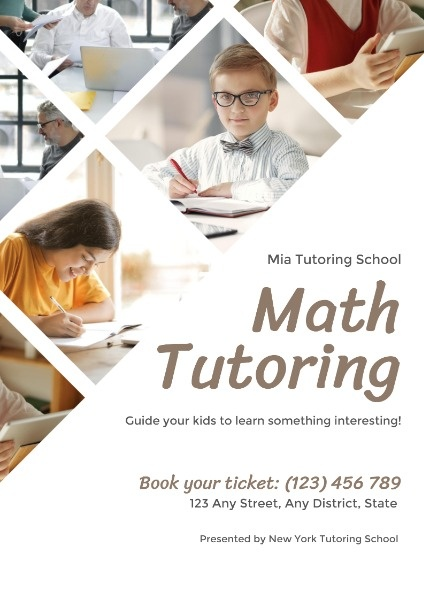 White Collage Math Tutoring Lesson Poster