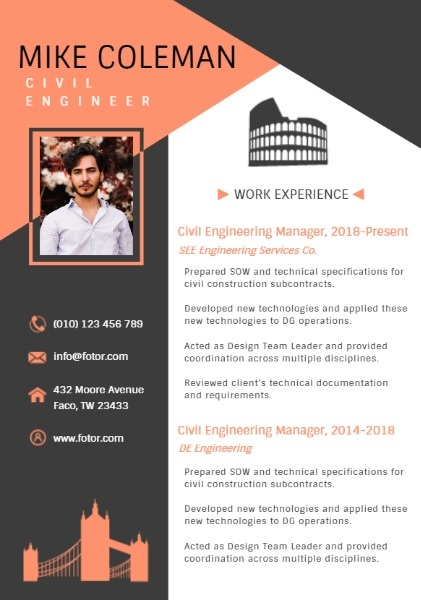 Orange And Black Civil Engineer