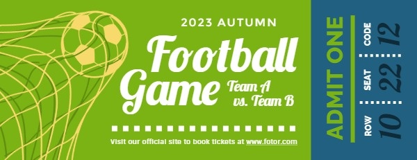 Green Football Game Ticket