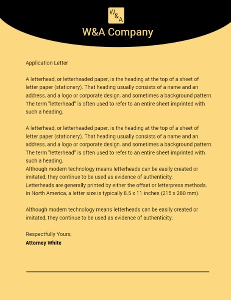 Yellow Company Official Letterhead