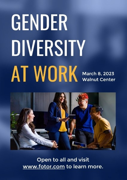Blue Gender Diversity At Work Poster