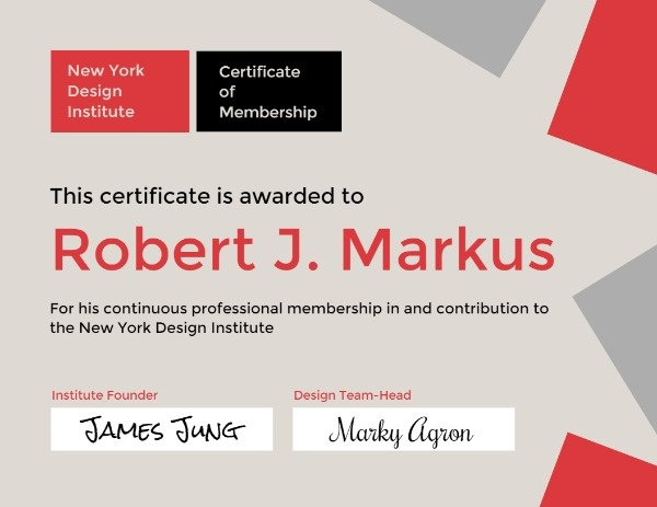 Certificate Of Design Membership