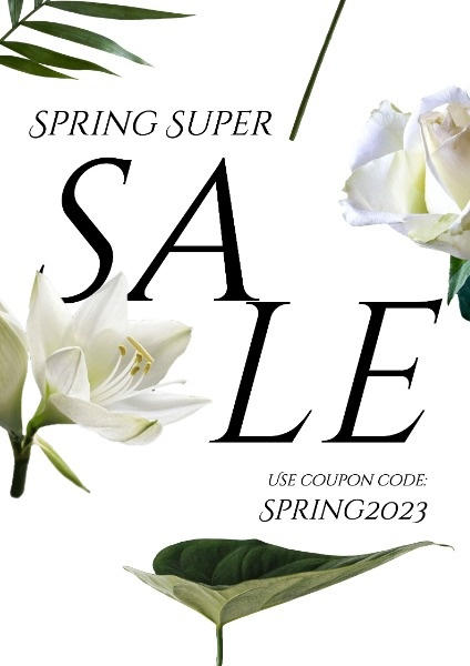 White Simple Floral Sale