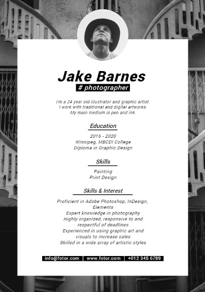 Photographer Black Resume