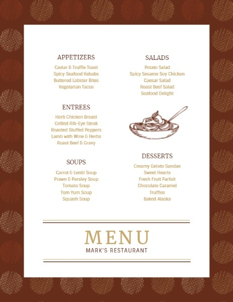 Brown Vintage Menu