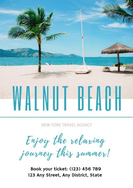 Blue And White Walnut Beach Poster