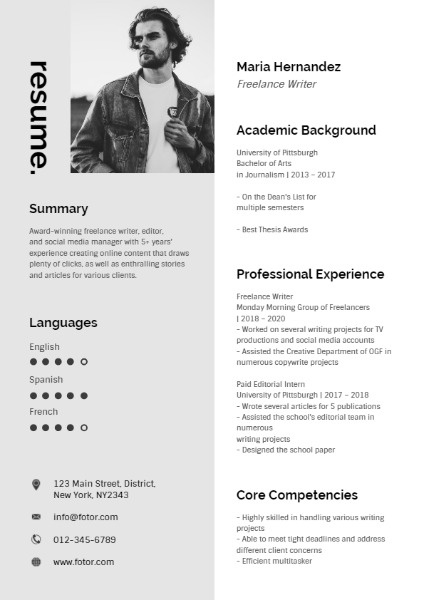 White And Grey Freelance Writer Resume