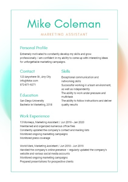Marketing Assistant Border Resume