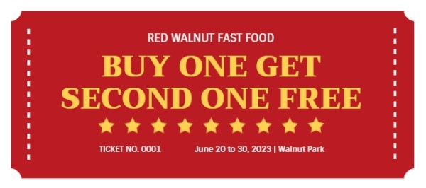 Red Fast Food Buy One Get One Free Coupon Code