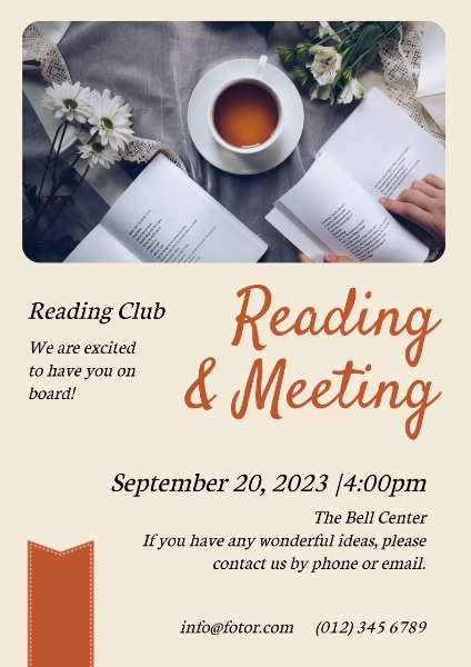 Yellow Reading And Meeting Flyer