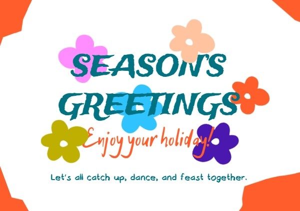 White Simple Floral Season Greeting Card