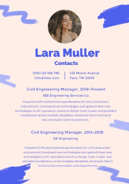Civil Engineering Management Pink Art Resume