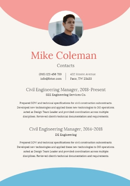Civil Engineering Manager Blue Red Art Resume