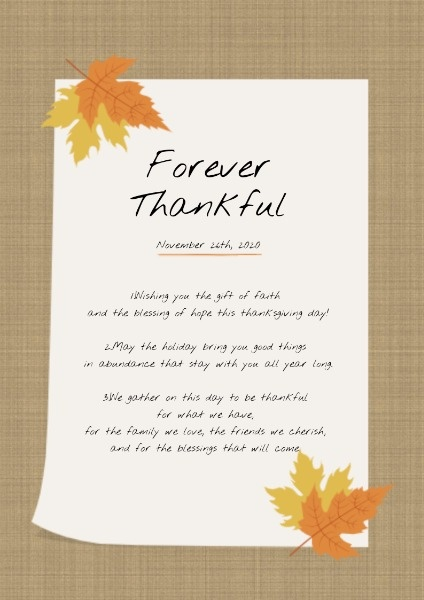 White And Brown Thanksgiving Wish Poster