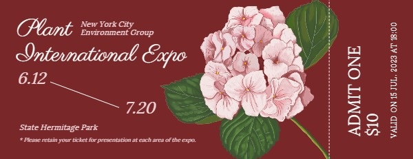 Red Blossom Plant Exhibition Ticket