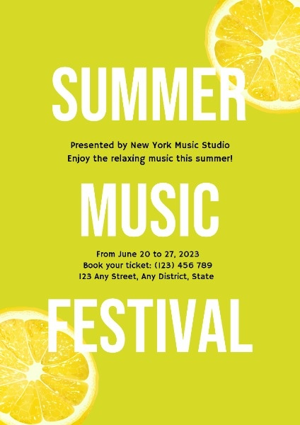Yellow Summer Music Festival Poster Template