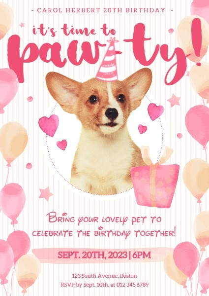 Pink Dog Birthday Party Invitation