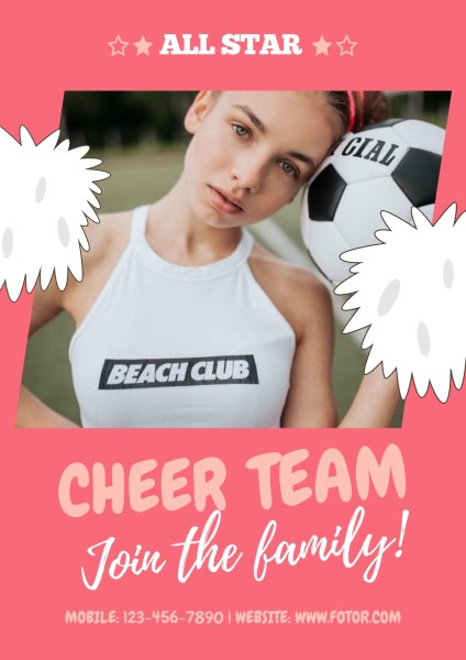 Pink Cheerleader Team Club