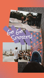 Orange Skateboard Sports Collage