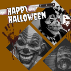 Brown Horrible Halloween Collage