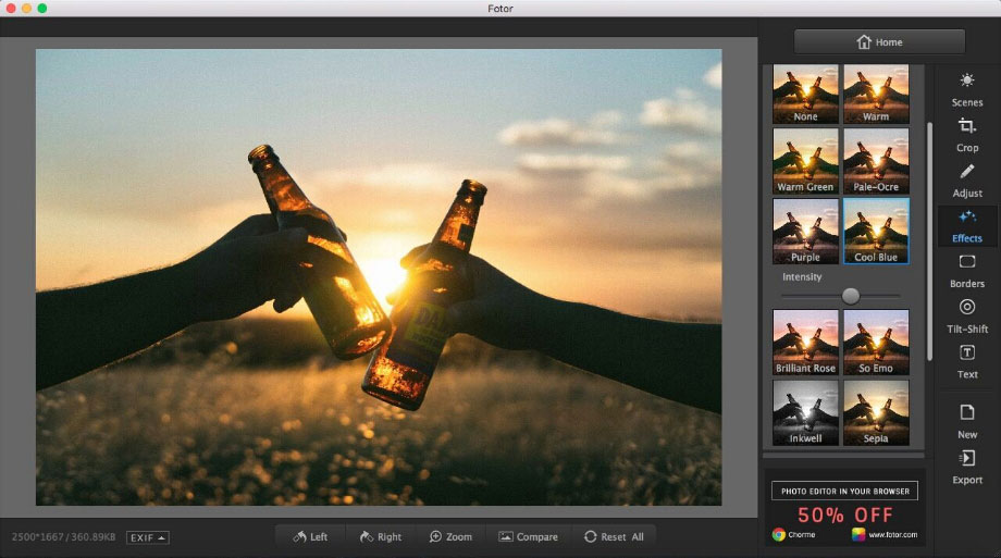 edit photo effects using Fotor photo editor for Mac