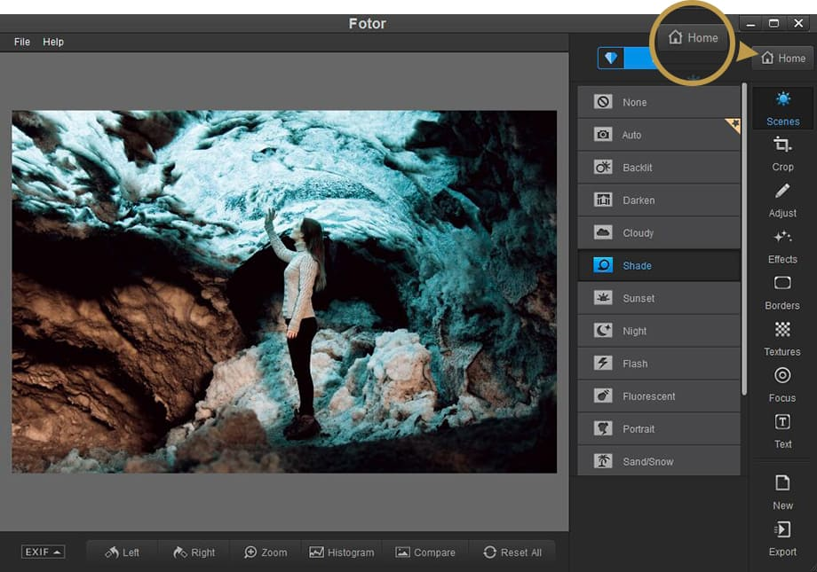 Fotor photo editor for Windows desktop home