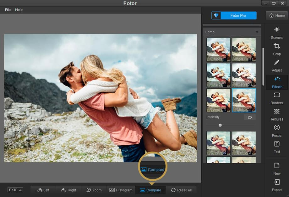 Fotor free photo editing effects compare
