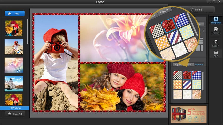 Fotor photo collage with templates
