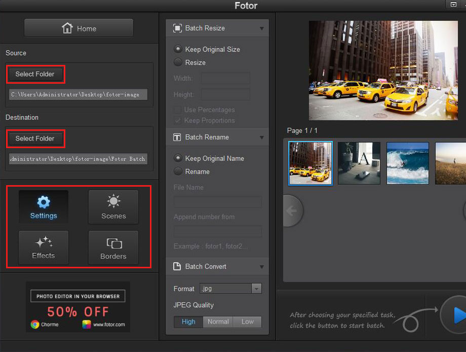 open photos to edit in Fotor photo editor